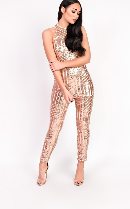 234dbccb4eab Kady Fitted Sequin High Neck Jumpsuit in Rose gold