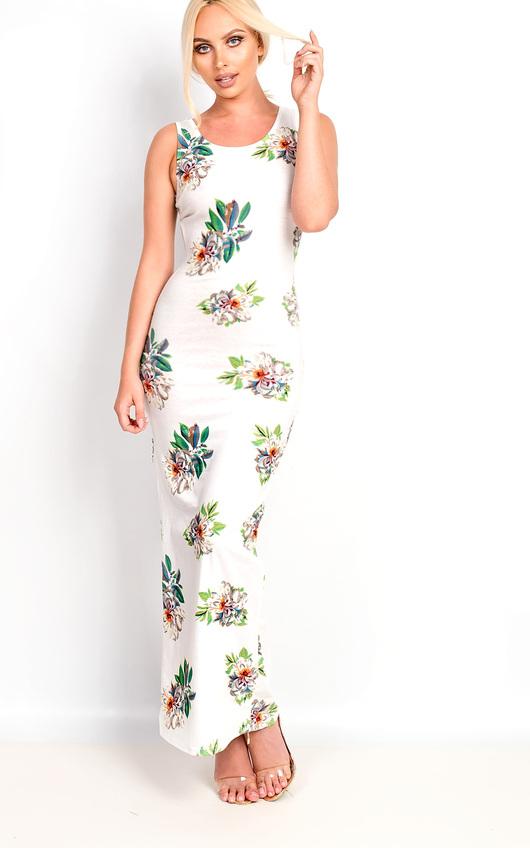 Sierra Bodycon Floral Zip Side Maxi Dress