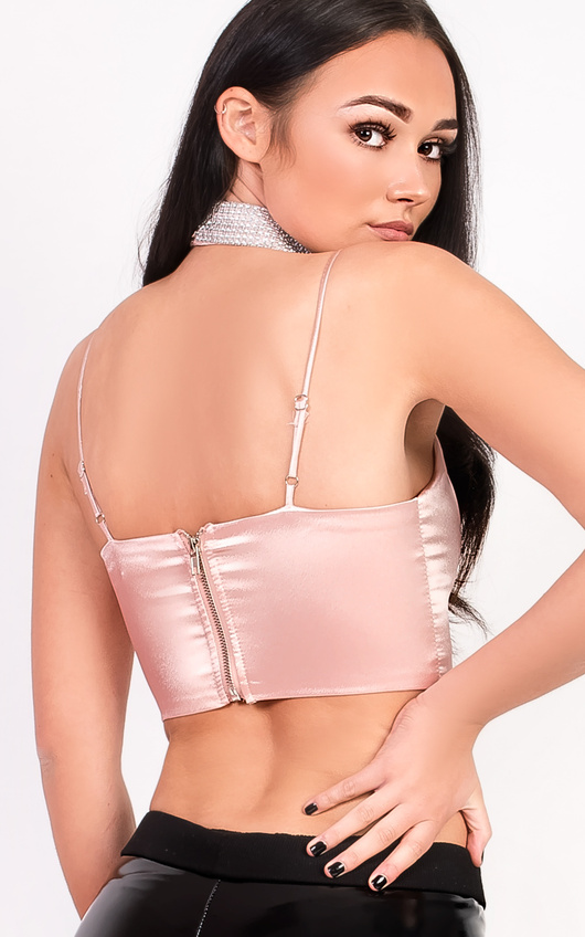 72dc19c4665131 Evie Choker Satin Crop Top in Champagne