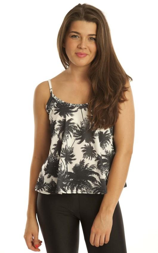 Kesha Palm Print Swing Vest