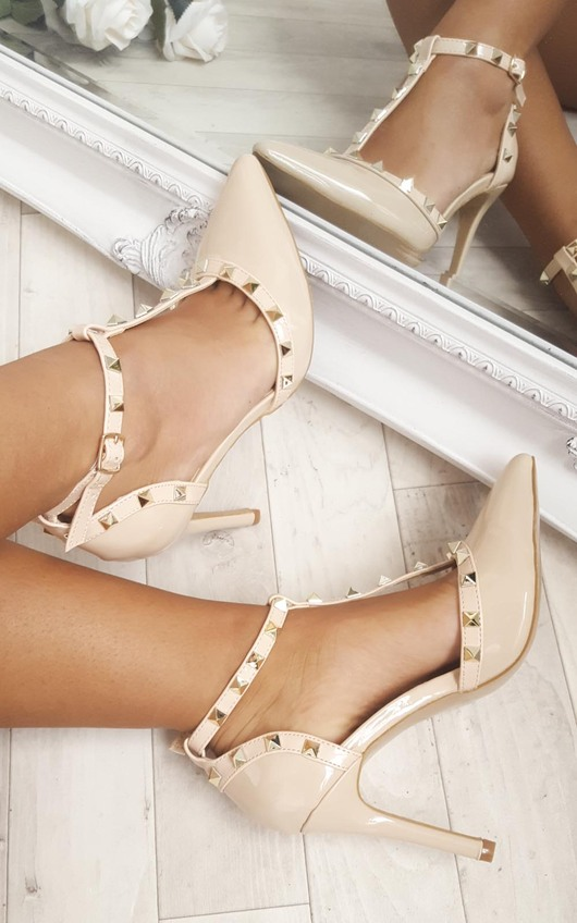 Kalah Patent T-Bar Studded Court Heels