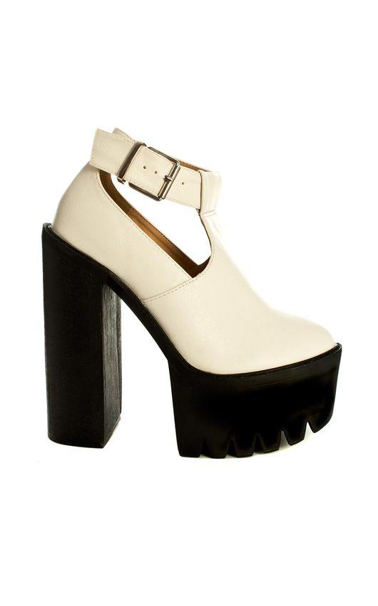 Lavita Extreme White Platform Block Heels