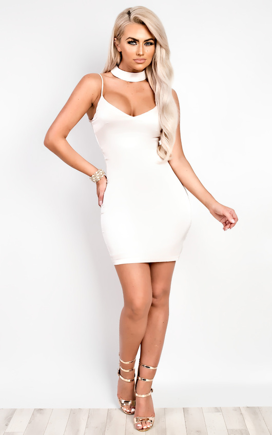 Tara Satin Choker Neck Dress