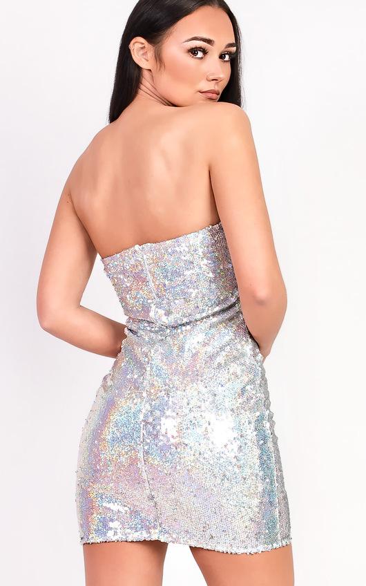 9d3fea355567 Kaya Bandeau Sequin Dress in Silver   ikrush