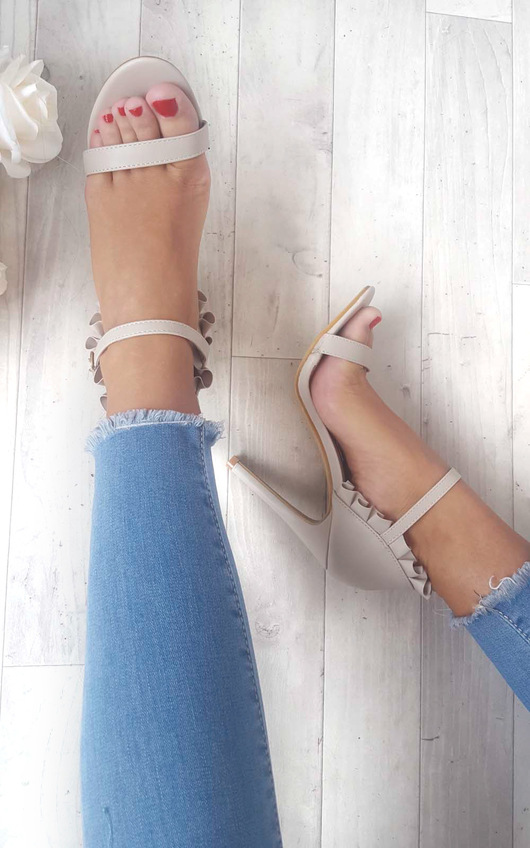 Nazzi Faux Suede Frill Barely There Heels