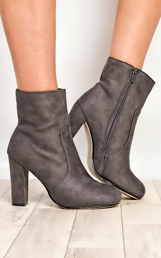 Sylvie Faux Suede Heeled Ankle Boots