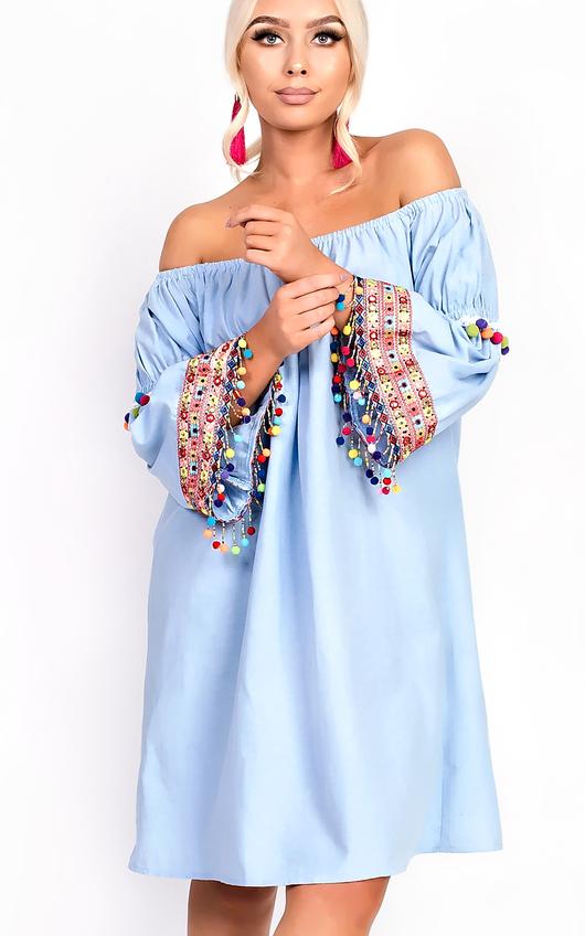 Lexie Bright Pom Pom Bardot Shift Dress