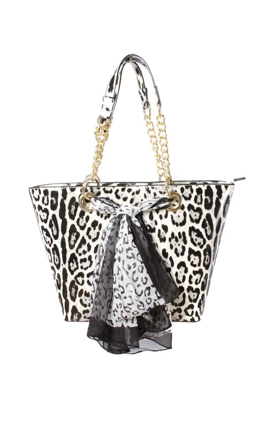 Sasha Fierce Oversized Snow Leopard Print Bling Bag