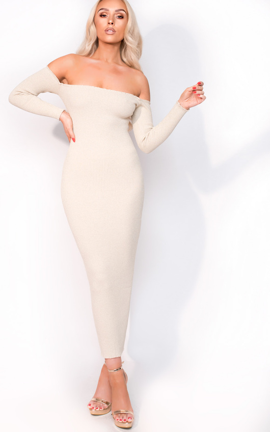 Ravena Midi Long Sleeve Bardot Luxe Bandage Dress