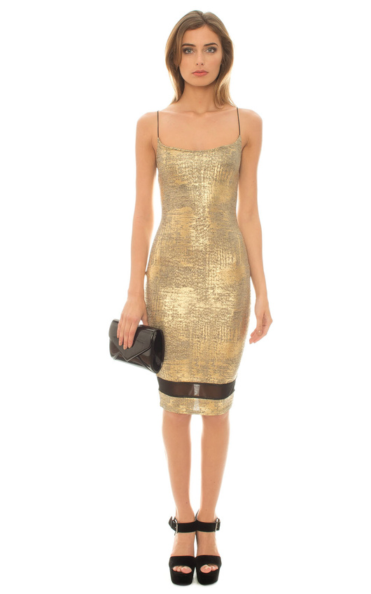 Harlan Metallic Mesh Dress
