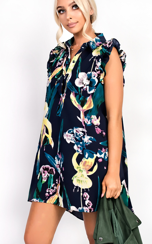 Bella Button Front Floral Frill Dress