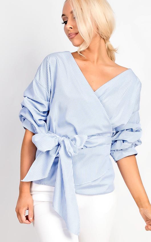Emily Gingham Ruffle Tie Front Shirt