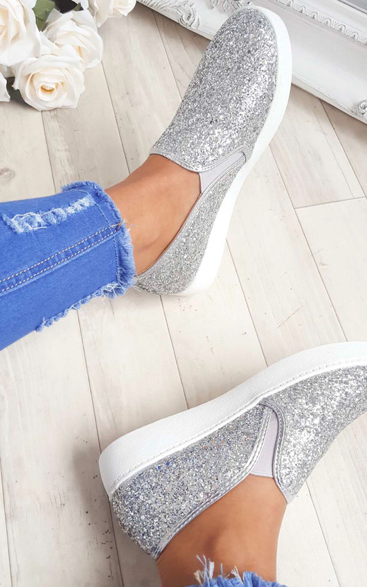 Alex Slip On Chunky Glitter Trainers