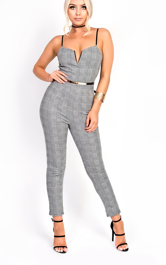 Kourtz Belt Waist Slim Leg Checked Jumpsuit