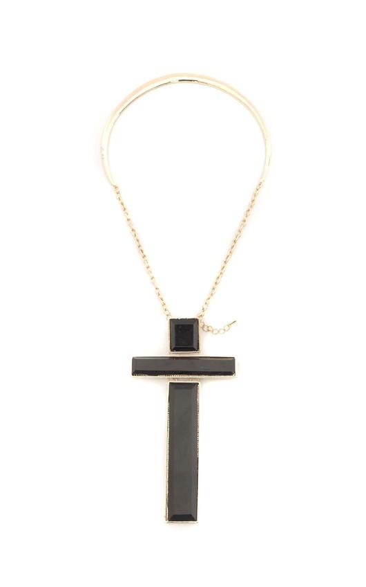 Susanita Black Cross Gold Bar Necklace
