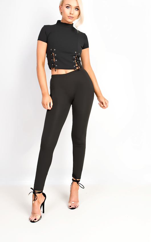 Lexi Lace Up High Neck Crop Top in Black  a5d91c1b2