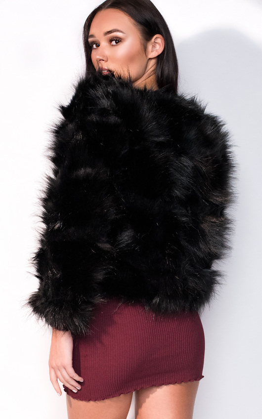 f06dd380a9da Kara Faux Fur Jacket in Black