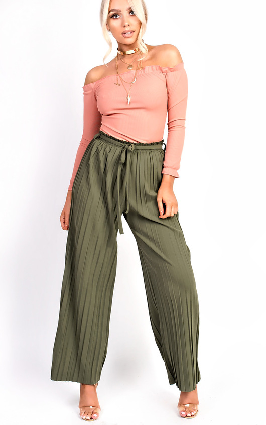 Cora Tie High Waist Wide Leg Trousers