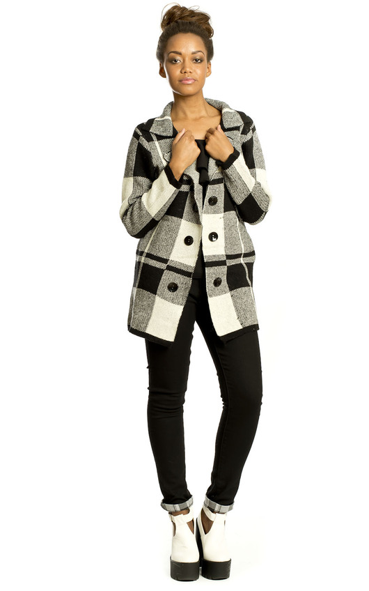 Erica Knitted Check Coat