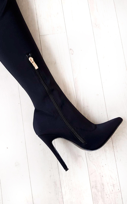 bceaa369e98 Zara Stretch Thigh High Boots in Black