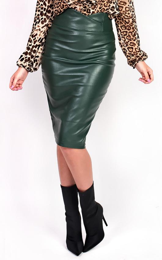 Raila Faux Leather Midi Pencil Skirt
