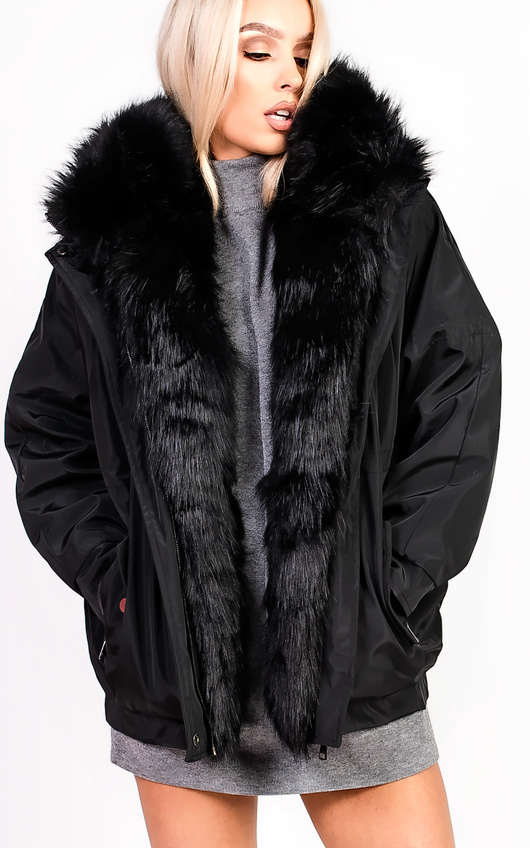 Vivienne Oversized Faux Fur Hooded Jacket