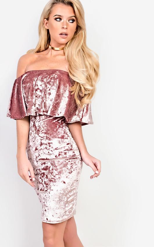 Sienna Off Shoulder Velour Dress