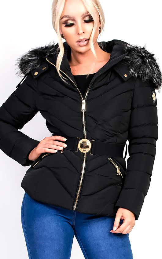 Sylvia Padded Faux Fur Hooded Belted Jacket