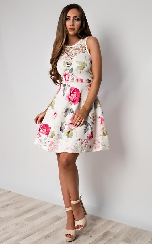 f2be7e5464 Bea Floral Skater Dress in White