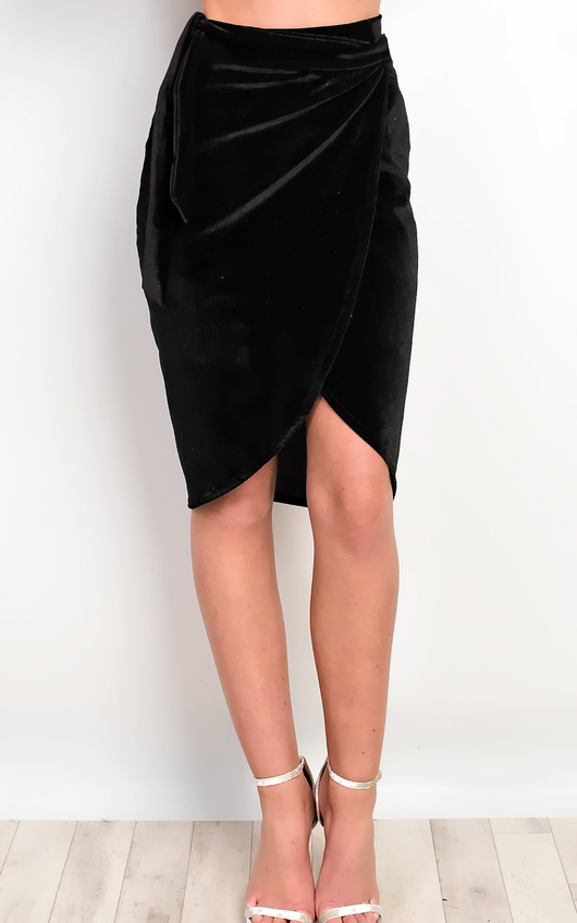 Ruby Velour Asymmetric Skirt