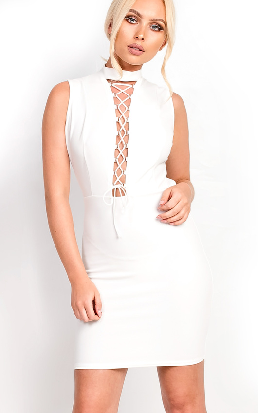 Marivtz Lace Up Bodycon Dress