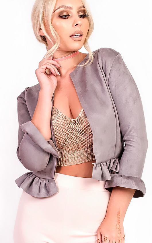 Sophia Collarless Faux Suede Frill Jacket