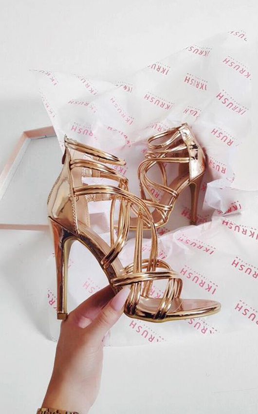 Genevieve Strappy Chrome High Heels