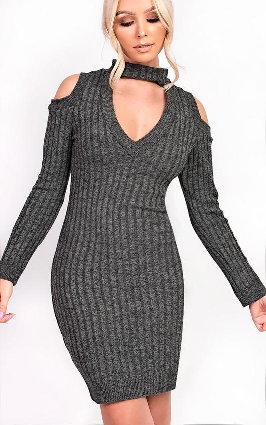 Elsa Choker Neck Knit Dress