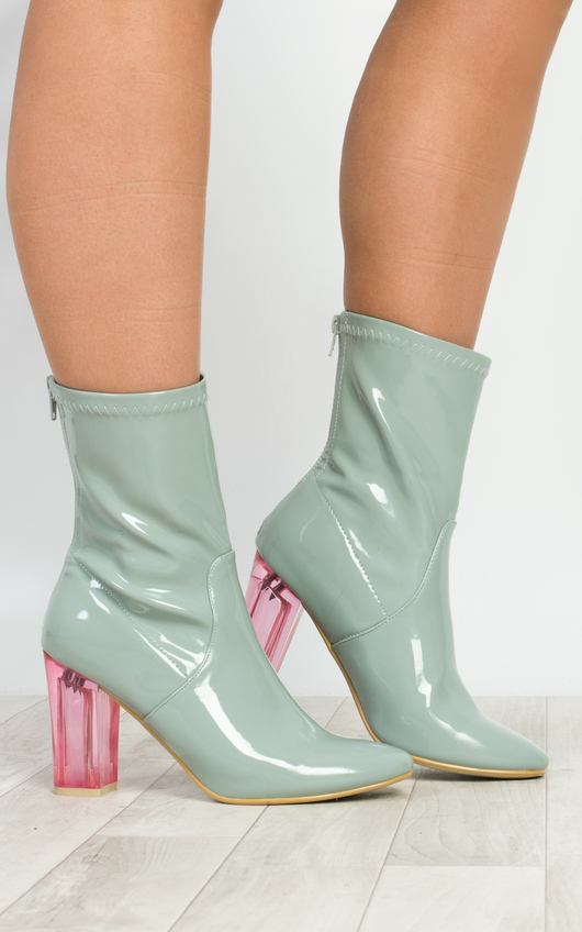 Kym Patent Heeled Ankle Boots