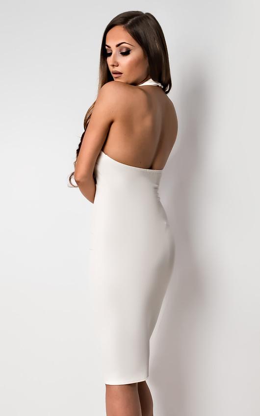 fc0ee48ef8e Casey Choker Neck Bodycon Dress in White