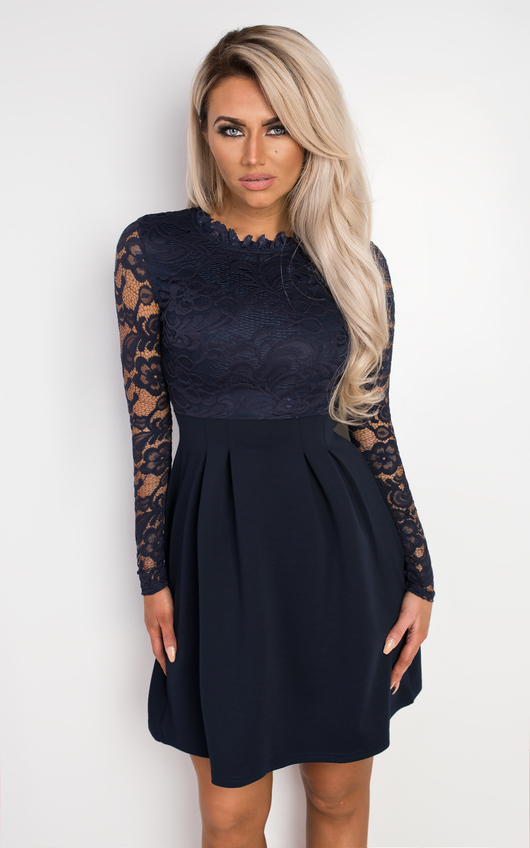 fb9f25587d4e Nika Lace Skater Dress in Navy | ikrush