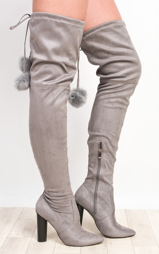 Blaire Pompom Faux Suede Knee High Boots