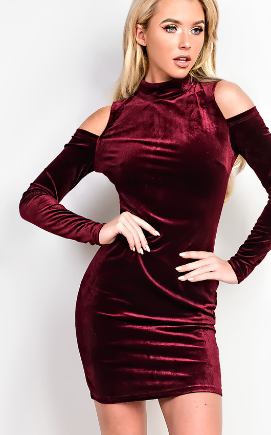 Elouise Velour Cold Shoulder Bodycon Dress
