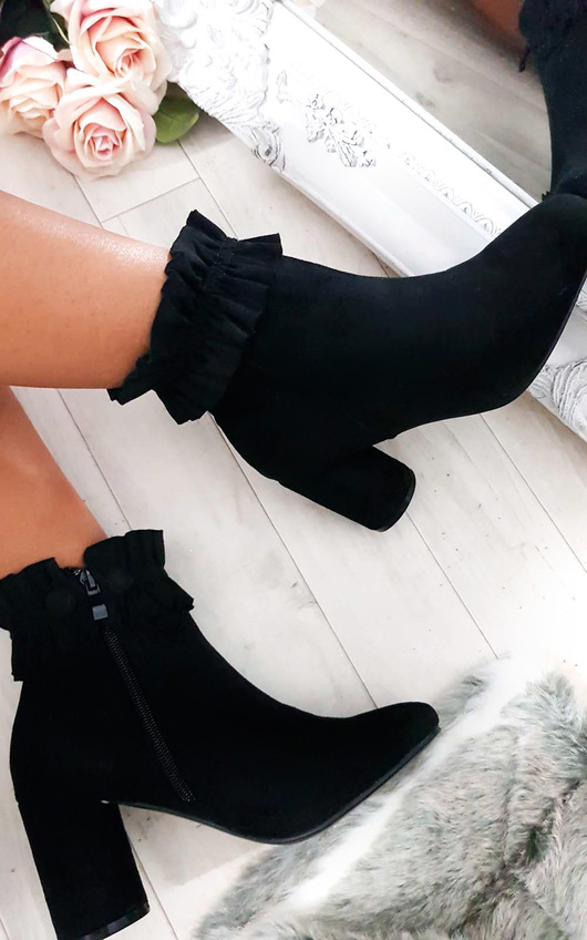Bambi Faux Suede Heeled Ankle Boots