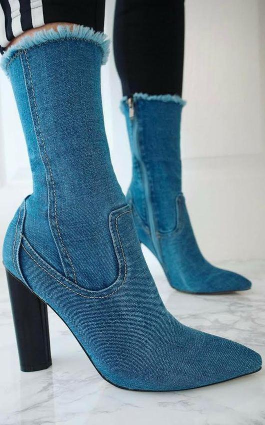 Mylene Denim Ankle Boots