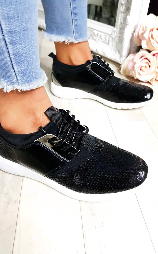 Kelise Sequin Lace Up Trainers