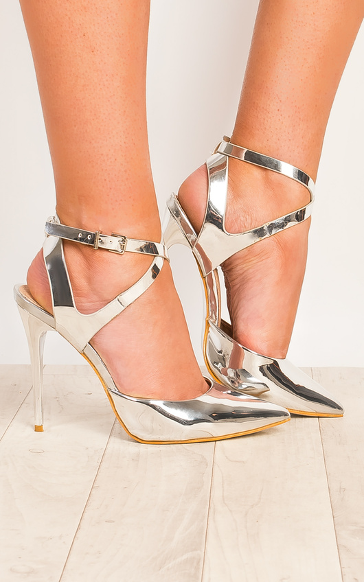Seraphina Silver Strappy Court Heels