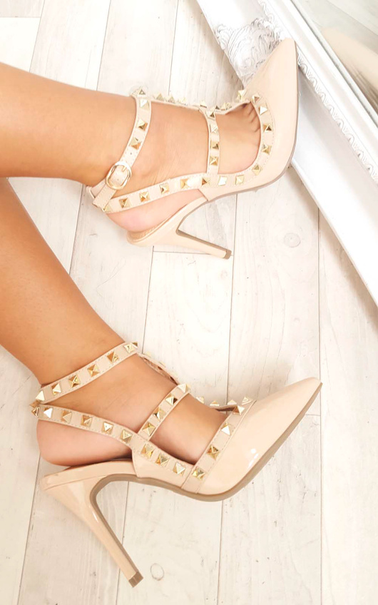 Valena Multi Strap T-Bar Studded Court Heels