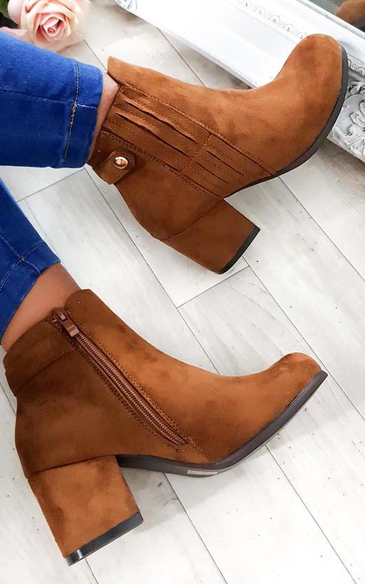 Klarissa Faux Suede Gold Button Ankle Boots