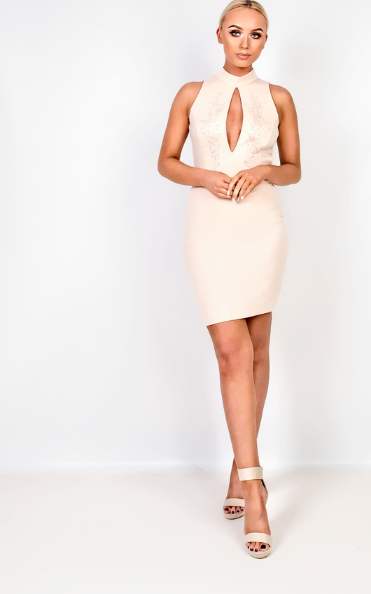 Raelynn High Neck Applique Bodycon Dress