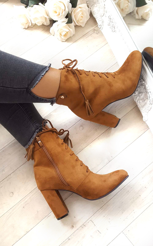 Kiki Faux Suede Lace up Tassel Ankle Boots