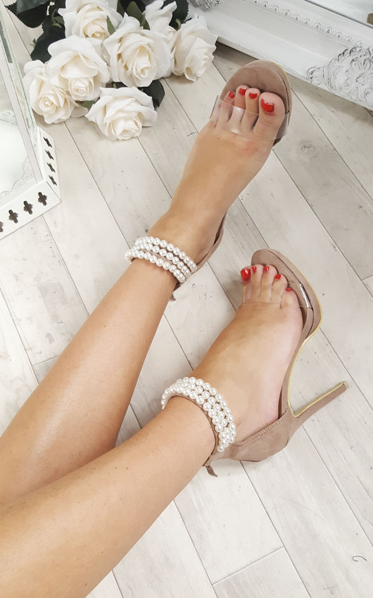 Jasmine Pearl Ankle Barely There Heels