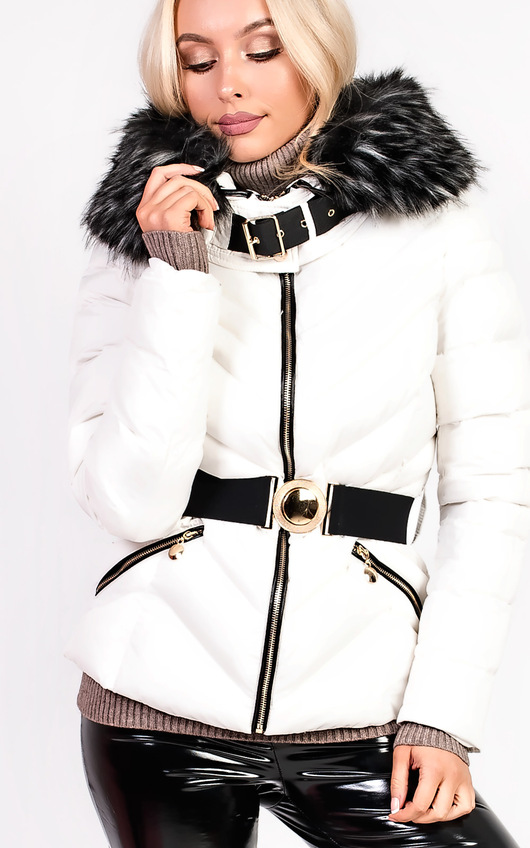 Elisia Padded Faux Fur Hooded Belted Jacket