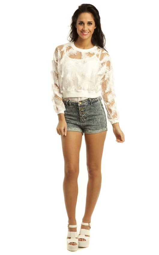 Lyla Organza Feather Cropped Sweatshirt